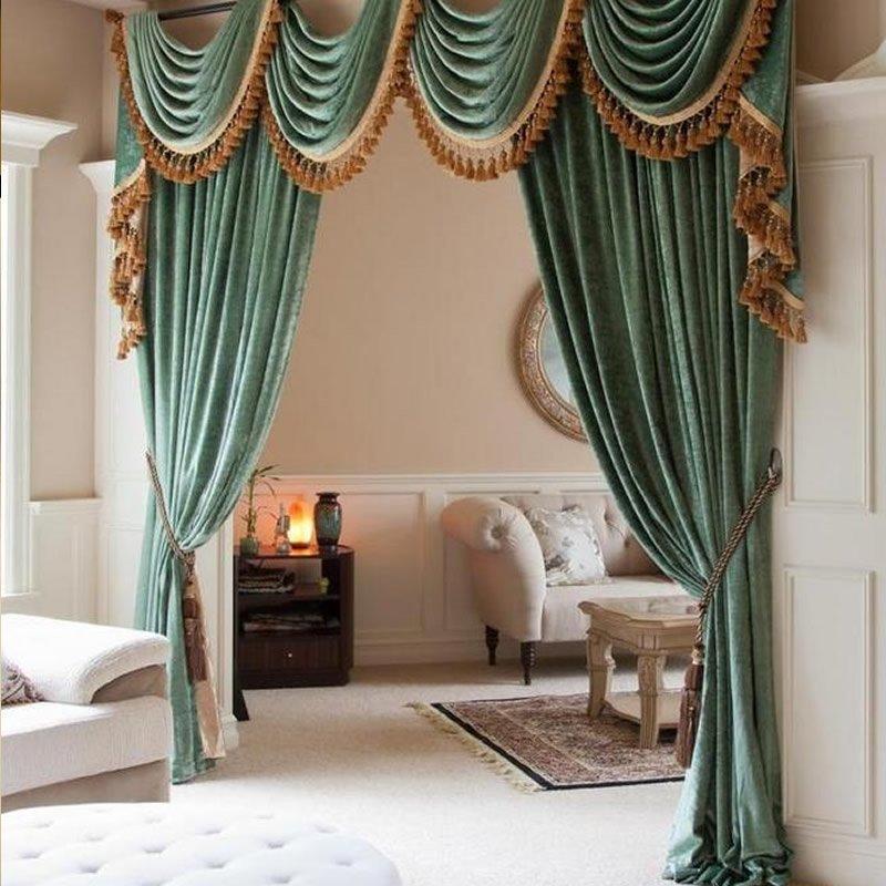 高档别墅欧式贴绒绣花窗帘成品 客厅卧室遮光飘窗落地窗定制